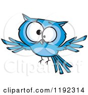 Cartoon Of A Cross Eyed Blue Owl Flying Royalty Free Vector Clipart by toonaday