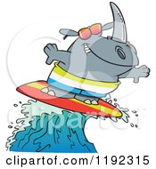 Cartoon Of A Surfing Rhino Riding A Wave Royalty Free Vector Clipart