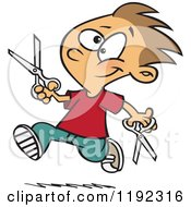 Happy Boy Dangerously Running With Scissors Cartoon