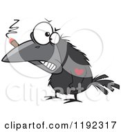 Cartoon Of A Tough Crow Smoking A Cigar And Sporting A Heart Tattoo Royalty Free Vector Clipart by Ron Leishman