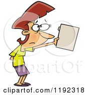Cartoon Of A Nervous Businesswoman Submitting A File Royalty Free Vector Clipart