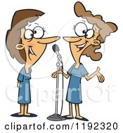 Cartoon Of Happy Women Singing A Duet Royalty Free Vector Clipart