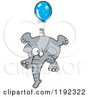 Cartoon Of A Scared Elephant Floating With A Blue Balloon Royalty Free Vector Clipart