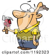Cartoon Of A Happy Man Shedding A Tear Over A Hammer Gift On Fathers Day Royalty Free Vector Clipart by toonaday