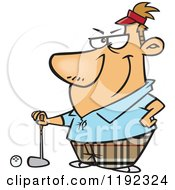 Serious Golfer Man Posing Cartoon