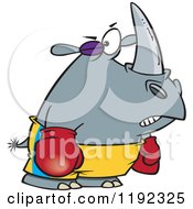 Cartoon Of A Boxer Rhino With A Black Eye Royalty Free Vector Clipart