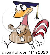 Proud Chicken Graduate Walking With A Cap And Diploma Cartoon