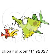 Cartoon Of A Doomed Fish About To Be Eaten By A Big Fish Royalty Free Vector Clipart