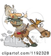 Cartoon Of A Cowboy Hitting The Horse Brakes Royalty Free Vector Clipart by Ron Leishman