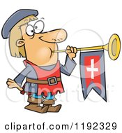Cartoon Of A Herald Blowing A Horn Royalty Free Vector Clipart