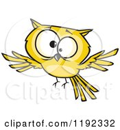 Cartoon Of A Cross Eyed Yellow Owl Flying Royalty Free Vector Clipart by toonaday