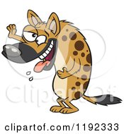 Cartoon Of A Laughing Hyena Slobbering And Holding Up A Paw Royalty Free Vector Clipart