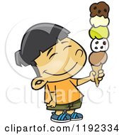 Cartoon Of A Happy Asian Boy Holding A 5 Scoop Waffle Ice Cream Cone Royalty Free Vector Clipart