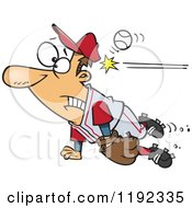Cartoon Of A Distracted Baseball Player Getting Whacked In The Head Royalty Free Vector Clipart by Ron Leishman