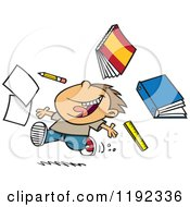 Cartoon Of A Happy Boy Throwing Supplies On The Last Day Of School Royalty Free Vector Clipart