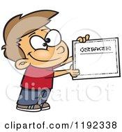 Proud Caucasian School Boy Holding A Certificate Of Achievement Cartoon