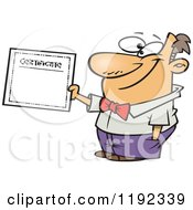 Cartoon Of A Proud Man Holding A Certificate Of Achievement Royalty Free Vector Clipart