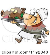 Cartoon Of A Happy Castle Cook Chef Carrying A Pig Head On A Platter Royalty Free Vector Clipart by toonaday