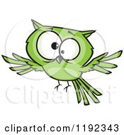 Cartoon Of A Cross Eyed Green Owl Flying Royalty Free Vector Clipart by toonaday