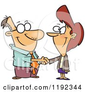 Cartoon Of A Business Man And Woman Shaking Hands Royalty Free Vector Clipart by Ron Leishman