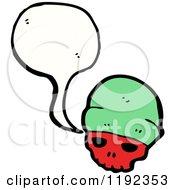 Poster, Art Print Of Red Skull Wearing A Wool Cap Speaking