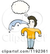 Cartoon Of A Man Spitting Water Thinking Royalty Free Vector Illustration