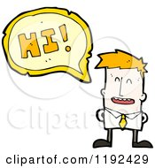Cartoon Of A Man Saying Hi Royalty Free Vector Illustration