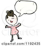 Cartoon Of A Happy Girl Speaking Royalty Free Vector Illustration