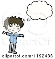 Cartoon Of A Boy Thinking Royalty Free Vector Illustration
