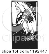 Clipart Of A Crouching Native Man Spear Fishing At A Waterfall Black And White Woodcut Royalty Free Vector Illustration