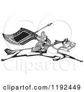 Clipart Of A Valkyrie Warrior With A Flag And Spear On A Running Horse Black And White Woodcut Royalty Free Vector Illustration