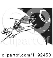 Clipart Of A Valkyrie Warrior With A Flag And Spear On A Leaping Horse In The Night Sky Black And White Woodcut Royalty Free Vector Illustration by xunantunich