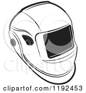 Clipart Of A Black And White Welding Helmet Royalty Free Vector Illustration