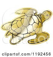 Clipart Of A Gold Sea Turtle Royalty Free Vector Illustration