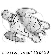 Clipart Of A Silver Sea Turtle Royalty Free Vector Illustration