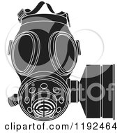 Clipart Of A Black And White Gas Mask Royalty Free Vector Illustration by Lal Perera