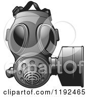 Clipart Of A Grayscale Gas Mas Royalty Free Vector Illustration by Lal Perera