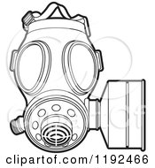 Clipart Of An Outlined Gas Mask Royalty Free Vector Illustration by Lal Perera