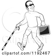 Clipart Of A Happy Black And White Blind Man With A Cane And Briefcase Royalty Free Vector Illustration