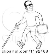 Clipart Of A Happy Black And White Blind Man With A Cane And Briefcase 2 Royalty Free Vector Illustration