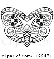 Clipart Of A Black And White Tribal Mask Royalty Free Vector Illustration by Lal Perera
