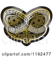Clipart Of A Gold And Black Tribal Mask 2 Royalty Free Vector Illustration by Lal Perera