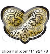 Clipart Of A Gold And Black Tribal Mask 3 Royalty Free Vector Illustration by Lal Perera