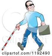 Clipart Of A Happy Caucasian Blind Man With A Cane And Briefcase Royalty Free Vector Illustration