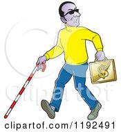 Clipart Of A Happy Black Blind Man With A Cane And Gold Case Royalty Free Vector Illustration