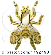Clipart Of A Golden House Fly Royalty Free Vector Illustration by Lal Perera