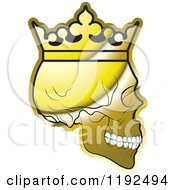 Poster, Art Print Of Gold Skull Wearing A Crown In Profile