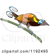 Clipart Of An Exotic Bird On A Stem Royalty Free Vector Illustration by Lal Perera