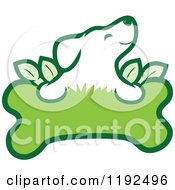 Cartoon Of A Cute Puppy Over An Organic Leafy Green Doggy Bone Royalty Free Vector Clipart