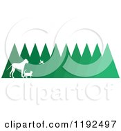 Cartoon Of A Silhouetted Bird Cat And Dog Over Trees Royalty Free Vector Clipart by Maria Bell